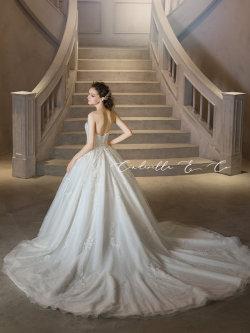 ロングトレーンのウェディングドレス クラシカル プリンセスライン