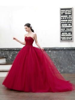 赤いカラードレス カラードレス レッド チュールドレス 赤